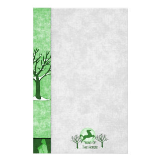Green Horse and Moon Stationery Paper