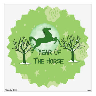 Green Horse and Moon Wall Decal