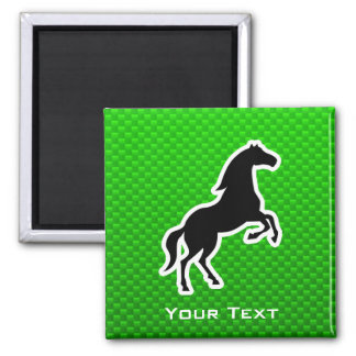 Green Horse 2 Inch Square Magnet
