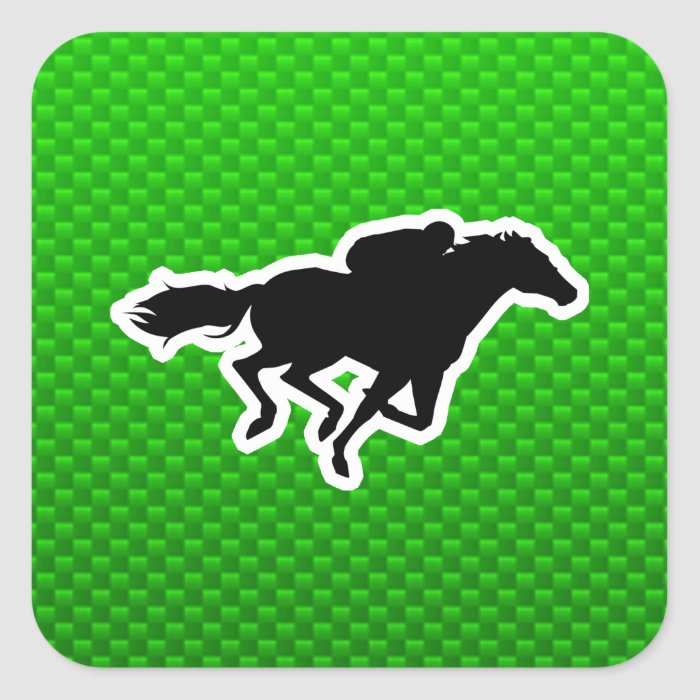Green Horse Racing Square Sticker
