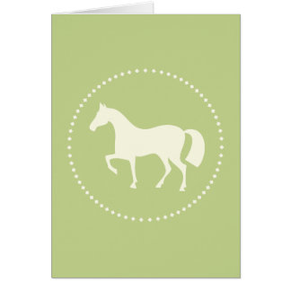 Green horse silhouette greeting card (vertical)