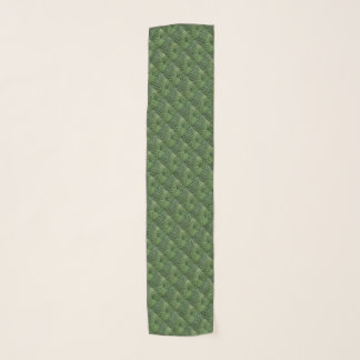 Green Hosta Leaves Abstract Pattern Chiffon Scarf