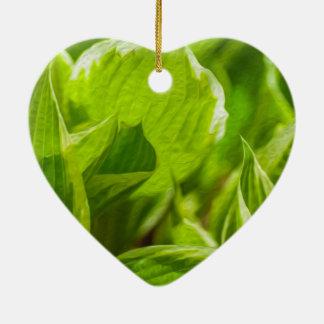 Green Hosta Leaves Ceramic Ornament
