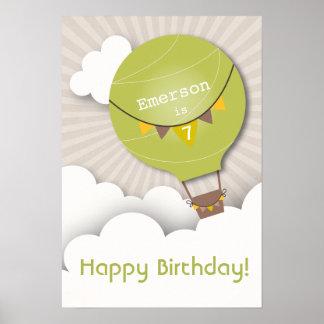 Green Hot Air Balloon Birthday Poster
