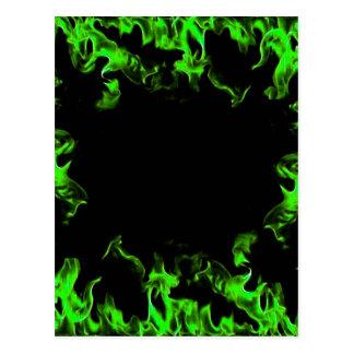 green hot flames postcard