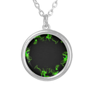 green hot flames silver plated necklace