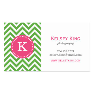 Green & Hot Pink Chevron Custom Monogram Double-Sided Standard Business Cards (Pack Of 100)