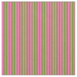 [ Thumbnail: Green & Hot Pink Colored Lines Fabric ]