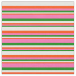 [ Thumbnail: Green, Hot Pink, Red & Mint Cream Stripes Fabric ]