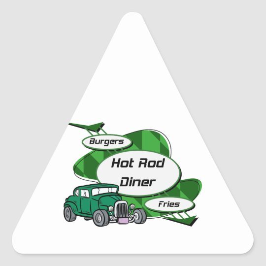 Green Hot Rod Diner Triangle Sticker