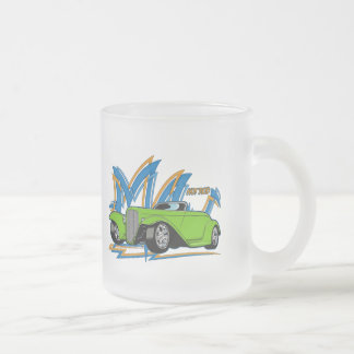 Green Hot Rod Frosted Glass Coffee Mug