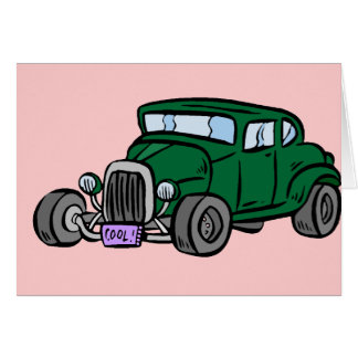 Green Hot Rod Greeting Card
