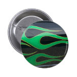 green hotrod flames on black 2 inch round button