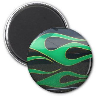 green hotrod flames on black 2 inch round magnet