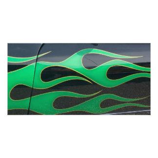 green hotrod flames on black card