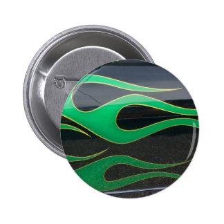 green hotrod flames on black pinback button
