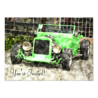 Green Hotrod Vintage Classic Car Painted Style 5x7 Paper Invitation Card