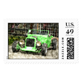 Green Hotrod Vintage Classic Car Painted Style Postage Stamp