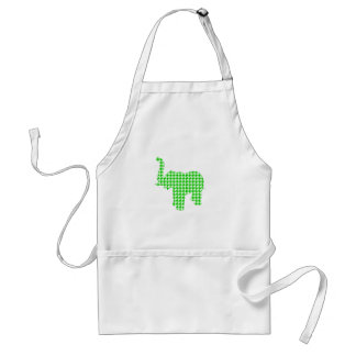 Green Houndstooth Elephant Adult Apron