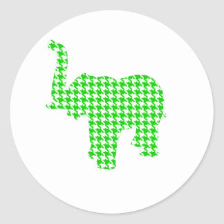 Green Houndstooth Elephant Classic Round Sticker