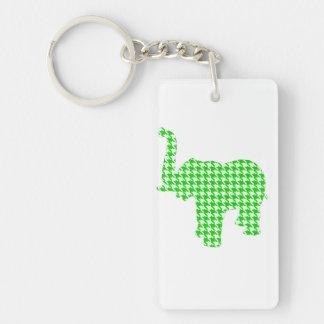 Green Houndstooth Elephant Keychain