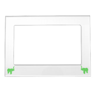 Green Houndstooth Elephant Magnetic Photo Frame
