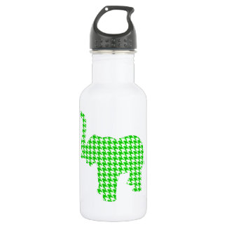 Green Houndstooth Elephant Stainless Steel Water Bottle