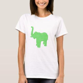 Green Houndstooth Elephant T-Shirt
