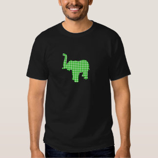 Green Houndstooth Elephant T-shirt