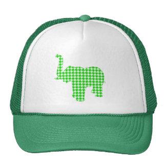 Green Houndstooth Elephant Trucker Hat
