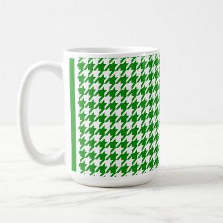 Green Houndstooth Classic White Coffee Mug