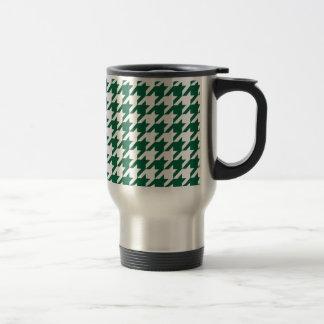 Green Houndstooth 15 Oz Stainless Steel Travel Mug