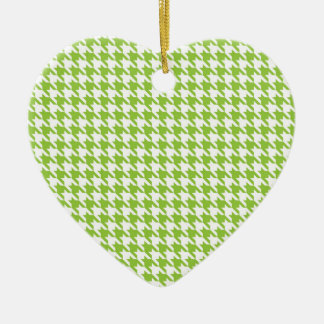 Green Houndstooth Ceramic Heart Ornament