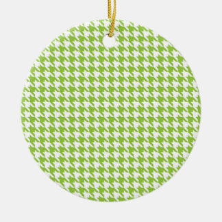 Green Houndstooth Round Ceramic Ornament