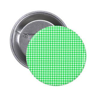 Green Houndstooth Pattern Pinback Button