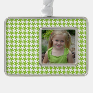 Green Houndstooth Silver Plated Framed Ornament