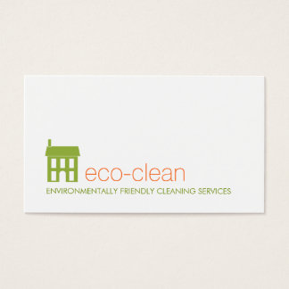Green House Logo Natural Cleaning Services Business Card