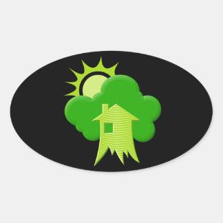 Green House Oval Sticker