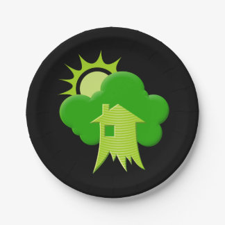 Green House Paper Plate