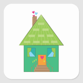 Green House Square Sticker