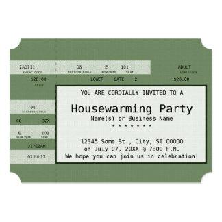 green housewarming concert ticket card