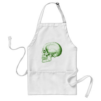 Green Human Skull Adult Apron