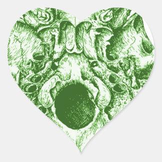 Green Human Skull below Heart Sticker