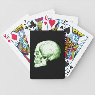 Green Human Skull Bicycle Playing Cards