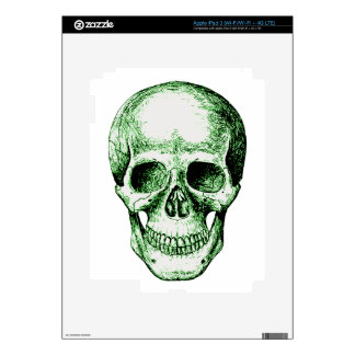 Green human skull face decal for iPad 3