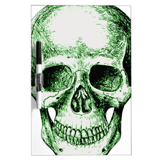 Green human skull face dry erase whiteboards