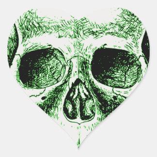 Green human skull face heart sticker
