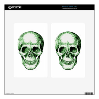 Green human skull face kindle fire decal