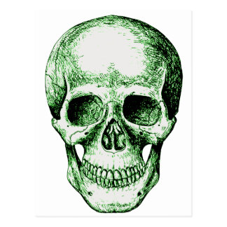 Green human skull face postcard