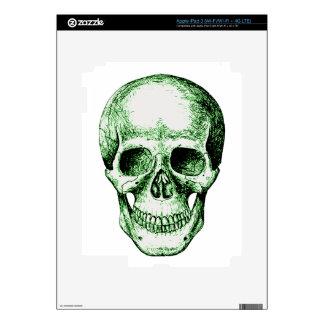 Green human skull face skins for iPad 3